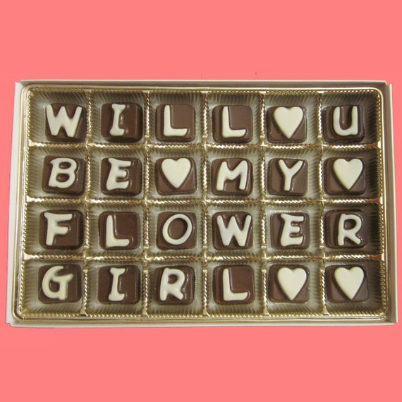Will You Be My Flower Girl Gift Ask Flowergirl Gift Idea Luxury Fun Invitation Funny Fun Way Ask Proposal Gift Her Cubic Chocolate Letters