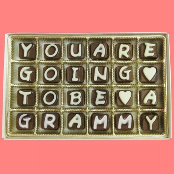 Pregnancy Reveal Pregnancy Announcement Gift Mother In Law Grandma Grandmother to Be You Are Going To Be A Grammy Cubic Chocolate Letters