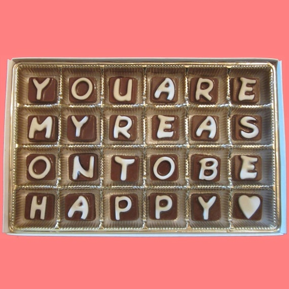 Anniversary Gift for Men Valentines Gift for Boyfriend Gift from Girlfriend Gift Idea You Are My Reason To Be Happy Cubic Chocolate Letters