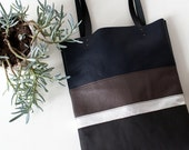 SALE Silver Stripe tote Leather Tote bag brown black navy blue