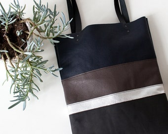 SALE Silver Stripe tote Leather Tote bag brown black navy blue