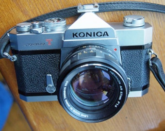 Konica Autoreflex T 35mm SLR Camera with 57mm f1.4 Konica Hexanon Lens and Case