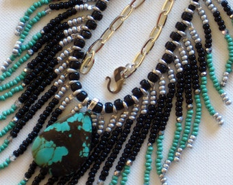 Native American necklace, black, silver, turquoise green with turquoise stone