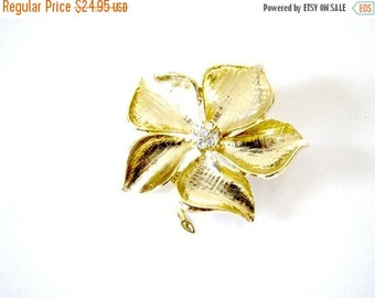 Gold Leaf Rhinestone Brooch Home Decor New Orleans Vintage Shop Holiday Retro Vintage