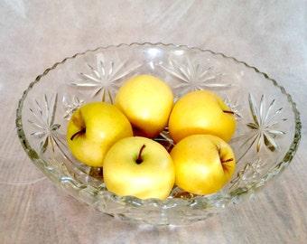 Vintage Crystal Glass Serving Bowl Crystal Salad Bowl Elegant Home Decor Dining New Orleans Serving