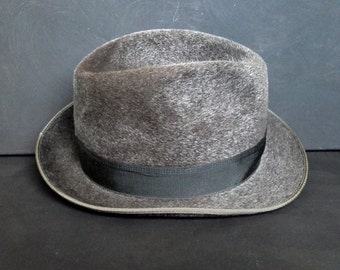 SALE Vintage Gray Wool Felt Fedora Trilby Boho Hat Medium Boho 1970s