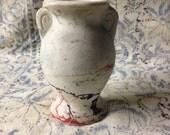 vintage pottery vase Nemadji style marbled swirled paint