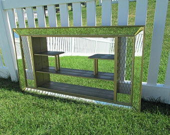 Vintage Atomic Age Wooden Mirrored Shadowbox - Large MCM Mirrored Wall Curio Shelf - Gold Spaghetti String Mid Century Eames Era Shadow Box