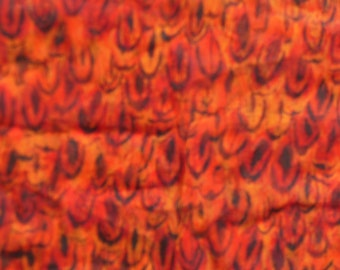 Orange, Red Feather Print Scarf