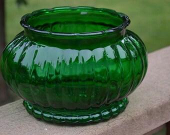 Green Glass Oval Planter-Vase