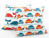Whale or Turtle Pillow Cover 18x18, Ocean Animals, Nautical Pillow, Kids Pillow, Colorful Pillows, Baby Nursery Bedding, Reversible