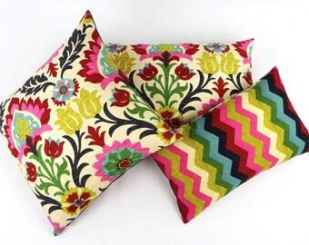 Colorful Floral Pillow Cover 20x20 to Chevron Pillow, Mexican Pillow, Reversible Pillow, Medallion Pillow, Sofa Pillow, Cinco de Mayo