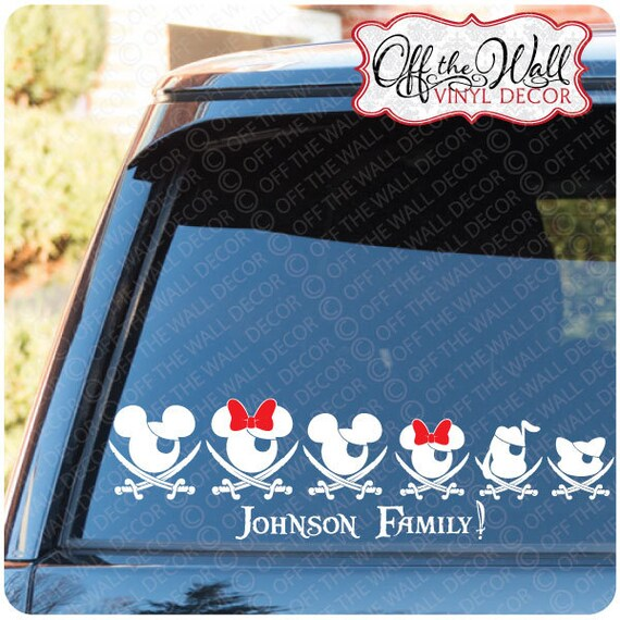 Mickey & Minnie Pirate Family Car / Truck / Vehicle Vinyl Decal Sticker