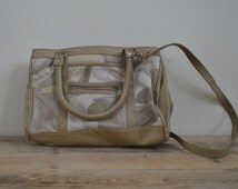 Vintage hand bag - Ladies purse - Cream beige - Shoulder - Retro