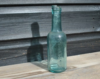 Vintage - Aqua glass bottle - Lea Perrins Worcester Sauce