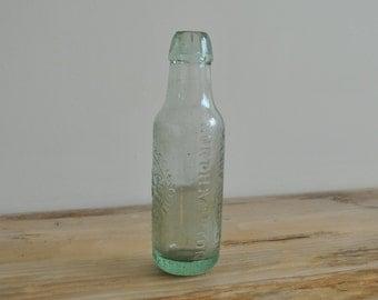 Vintage - Aqua glass bottle - W Foster Soda Water - Northampton