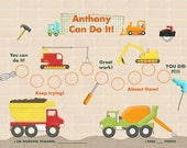 Personalized  Chart for Kids -  Construction Adventure- Printable PDF or Jpeg