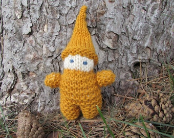 Knitted Gnome Doll, Goldenrod with white skin - natural wool waldorf gnome baby, elf