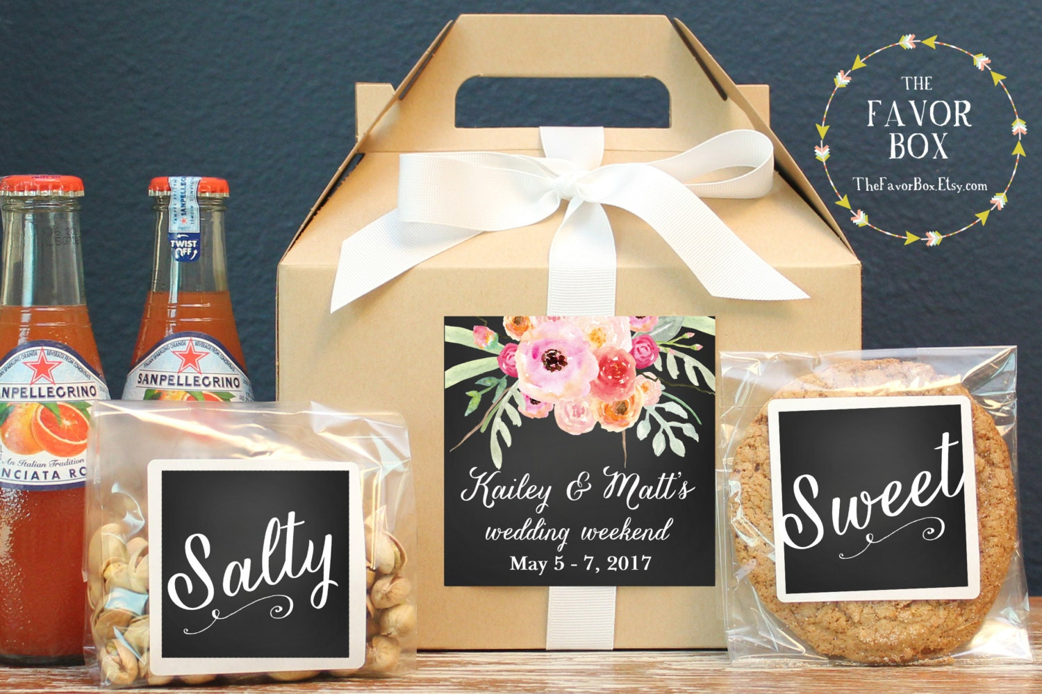 Gift Bags For Weddings For Hotel Guests: Set Of 6-Out Of Town Guest Box / Wedding Welcome Box / Wedding