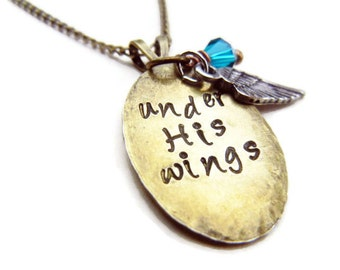 Psalm 91 Brass Pendant Feather Necklace Under His Wings