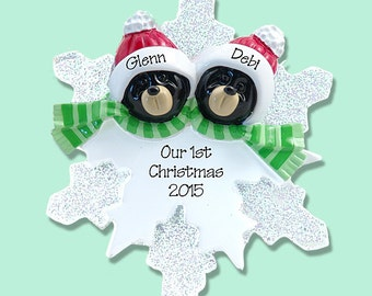 Black Bear Couple on Snowflake Hand Painted RESIN Personalized Christmas Ornament