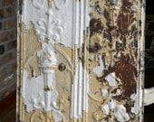 """Genuine Antique Ceiling Tile - 12"""" x 12"""" -- Chippy White Paint -- Rare Victorian Design with Torch"""
