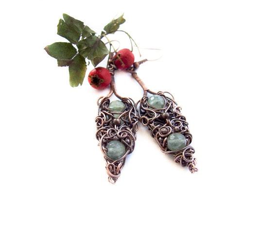 Elvish Forest Earrings, Long Intricate Prehnite Earrings, Wire Wrapped Green Prehnite Copper Earrings, Fantasy Earrings
