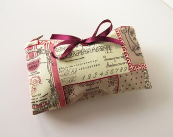 Make Up Bag, Zip Pouch,  Vintage Shabby Chic Style with Brushes Section