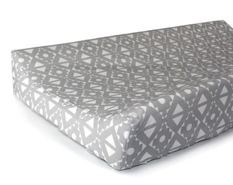 TRIBAL GRAY- changing pad cover for contoured changing pad- change mat cover- tribal bedding- gender neutral- fitted changing pad slipcover