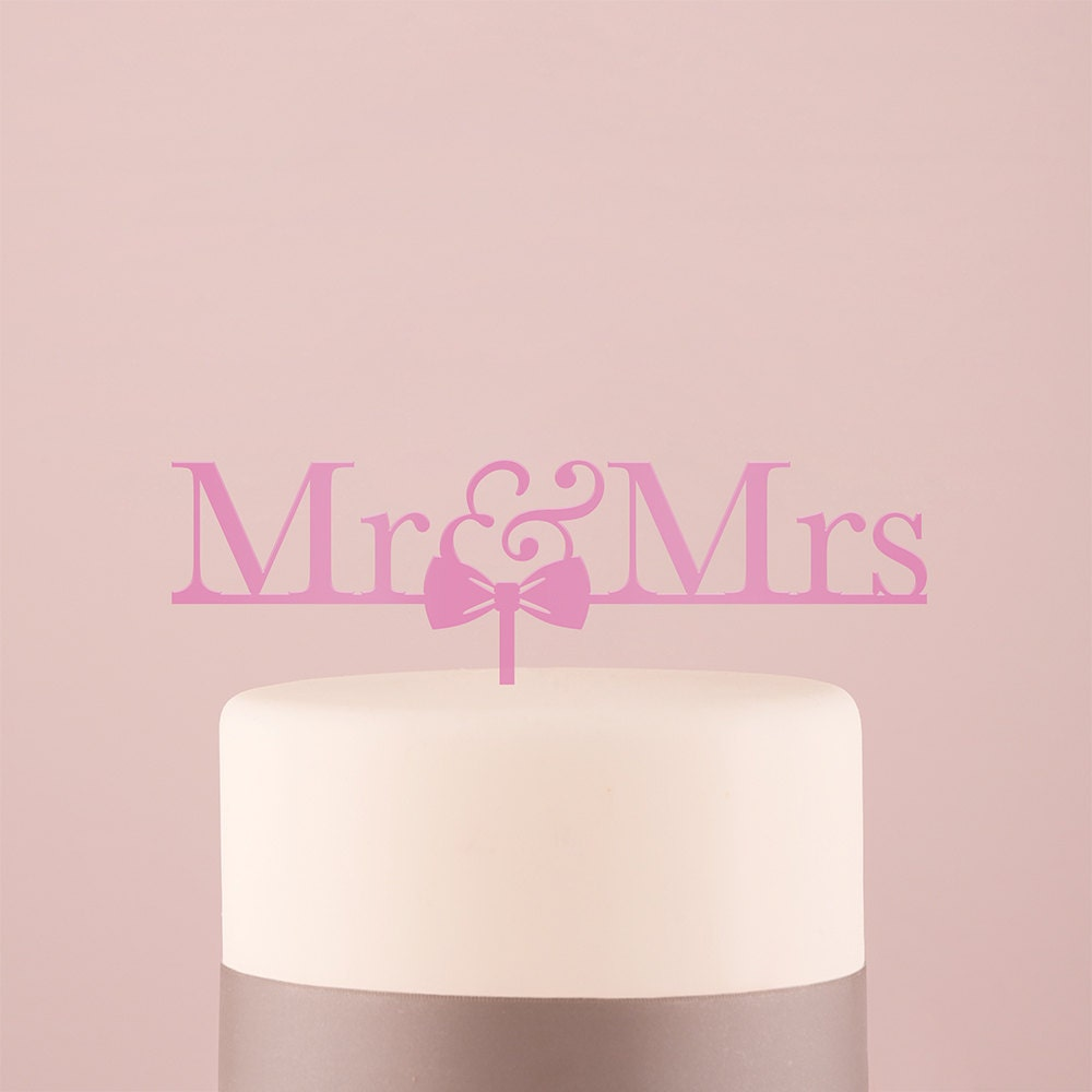 Mr. and Mrs. Bow-Tie Bow Tie Wedding Cake Topper Dark Pink ...