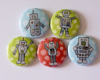 Retro Robots Nerdy Geeky Techie Pinback Button | Gifts Under 5 Dollars