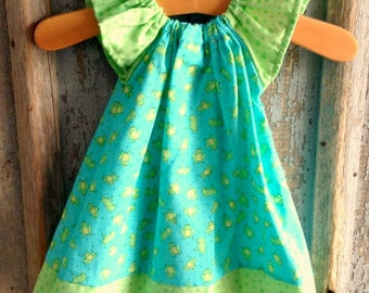 Polka Dot Frogs - Peasant style dress - Blue and green - 3 6 9 12 Months