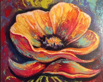 POPPY  Vicki Boyd Original fine art, 20x24 acrylics.  Subject - colorful flower
