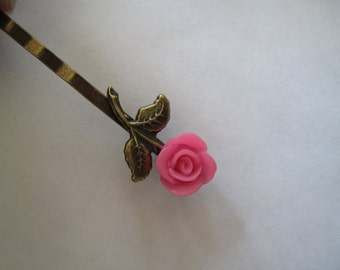 1 Pink Rose Barrette