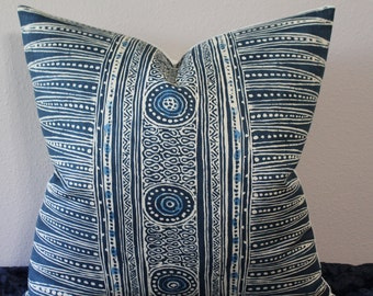 "Suzanne Rheinstein for Lee Jofa - Indian Zag Ethnic Print in Indigo - Boho Chic - 18"" - 22"" Square and Lumbar  Designer Pillow Cover"