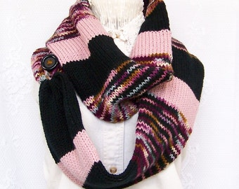 Knit scarf - pink, black scarf - infinity scarf, circle scarf, double knit scarf, women's scarf - Sandy Coastal Designs - ready to ship