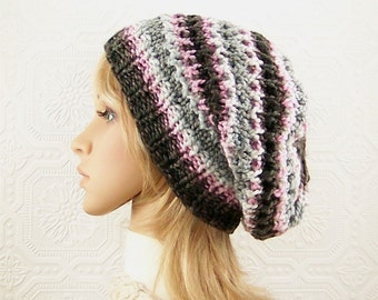 Hand Knit Beanie - pink, white, grey and black Women's winter hat Multicolor Winter Fashion gift for her Sandy Coastal Designs Ready to Ship