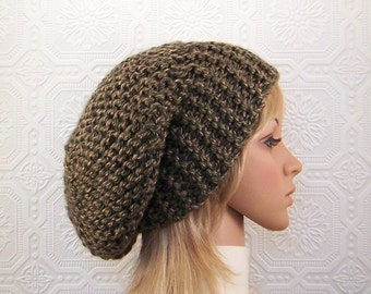 Hand knit slouch hat - brown shades - adult beanie brown knit hat women's accessories winter fashion - Sandy Coastal Designs ready to ship