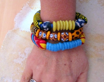 African beaded bracelets - 3 Stackable recycle glass beads stretch bracelets