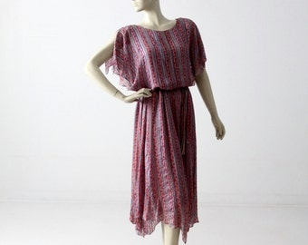 1970s silk dress from Neiman Marcus, vintage boho butterfly sleeve dress