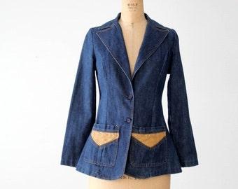 vintage 70s denim blazer, Gotcha Covered Up jacket with jute detail