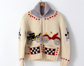 FREE SHIP  vintage 50s novelty sweater, chunky knit cowichan style car cardigan