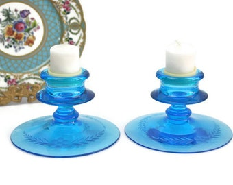Blue Glass Candlestick Holders / SET of 2 / Floral Etched Glass / Pillar or Votive Size / c1970s