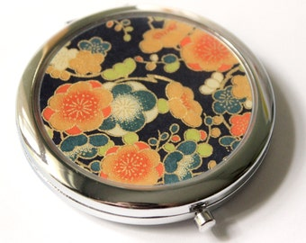 Navy and Orange Chiyogami Compact Mirror