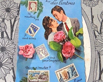 Vintage French Fantasy  Postcard Featuring Lovers 1960s