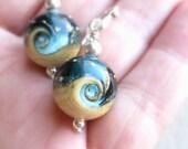 Ocean earrings, Blue wave earrings, Beach jewelry, Lampwork earrings, Glass bead jewelry, Teal ivory earrings Sea glass earrings nautical