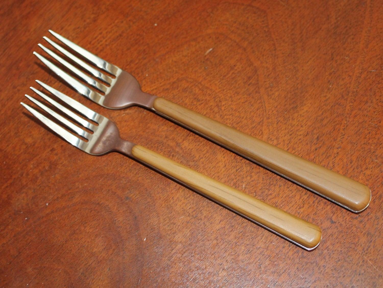 Brown plastic handles with wood grain look vintage silverware - Flatware with wooden handles ...