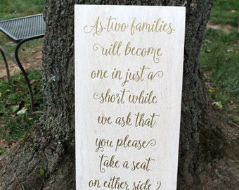 """11"""" x 23"""" Wooden Wedding Sign - As two families will become one - Ceremony sign"""