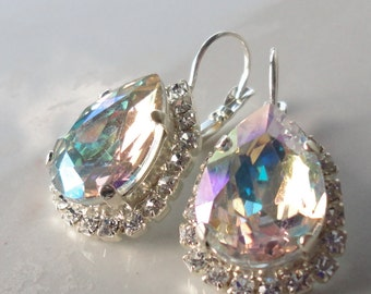 Swarovski crystal earrings silver vintage bridal bridesmaids estate old hollywood wedding classic