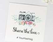 Social Media Table Signs, Hashtag Wedding, Share the Love, Bridal Shower Decoration, Party Decor - 4.25 x 4.25 inches, Set of 10 (TC-SAM)